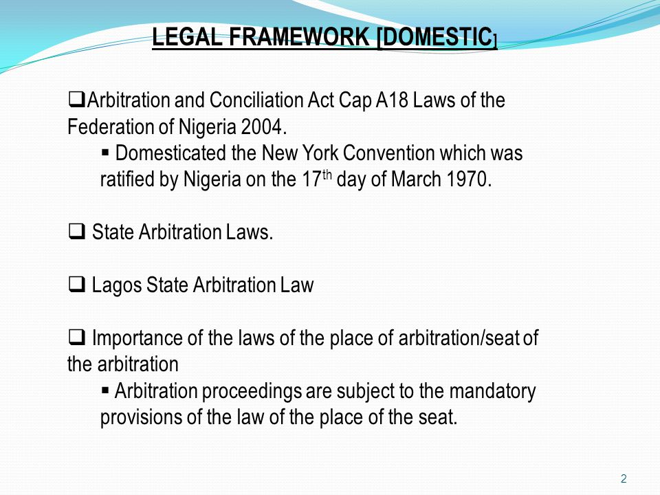 LEGAL FRAMEWORK [DOMESTIC]
